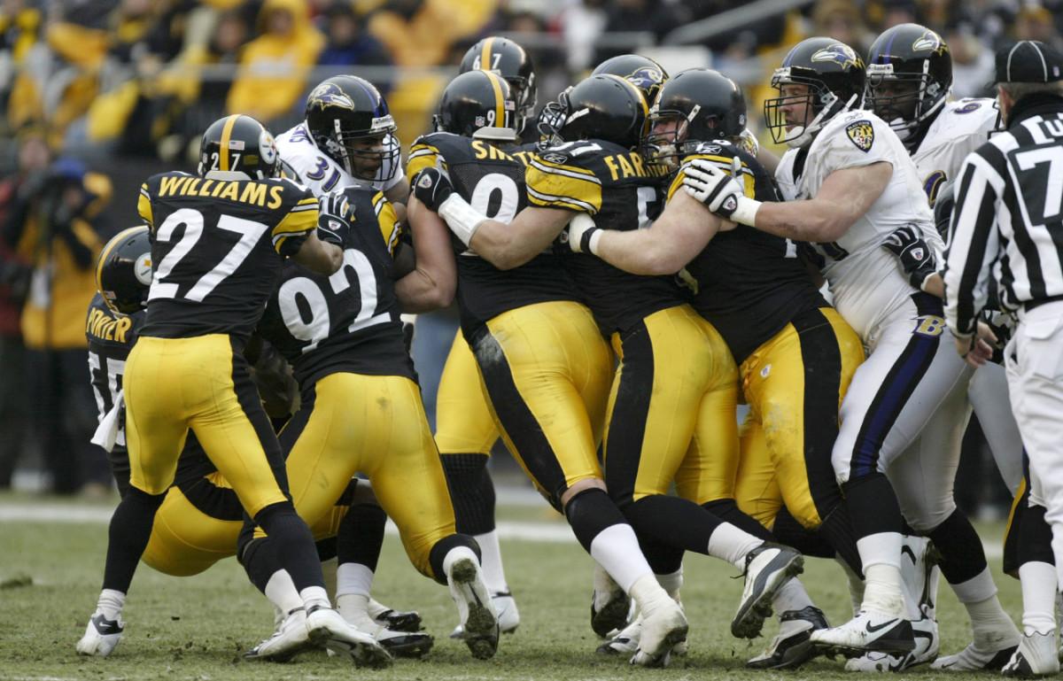 The Steelers D stuffs Jamal Lewis, December 2004.