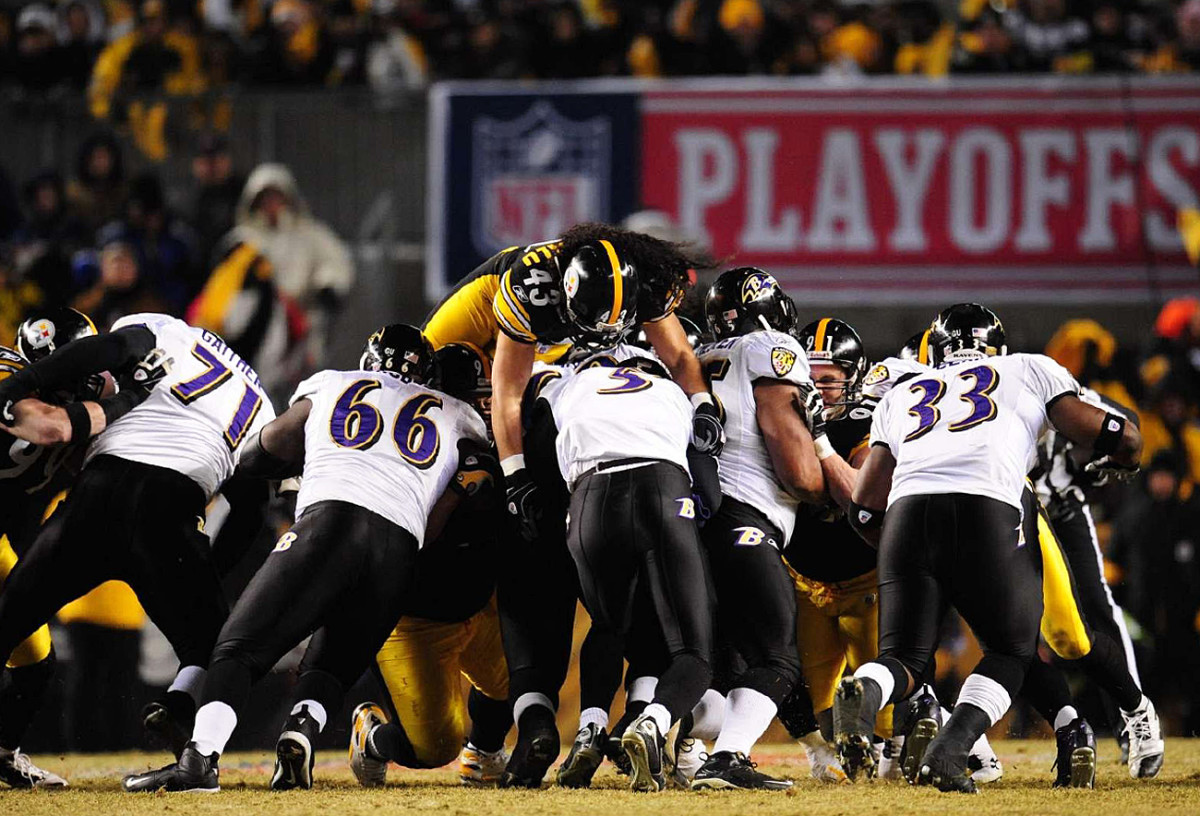 Troy Polamalu goes over the top to get Joe Flacco in the January 2009 AFC title game at Heinz Field.