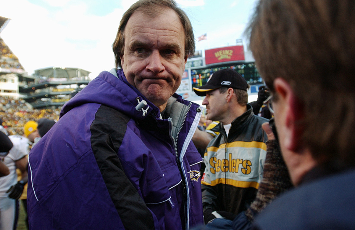 A disappointed Brian Billick and Bill Cowher after the Steelers playoff win in January 2002.