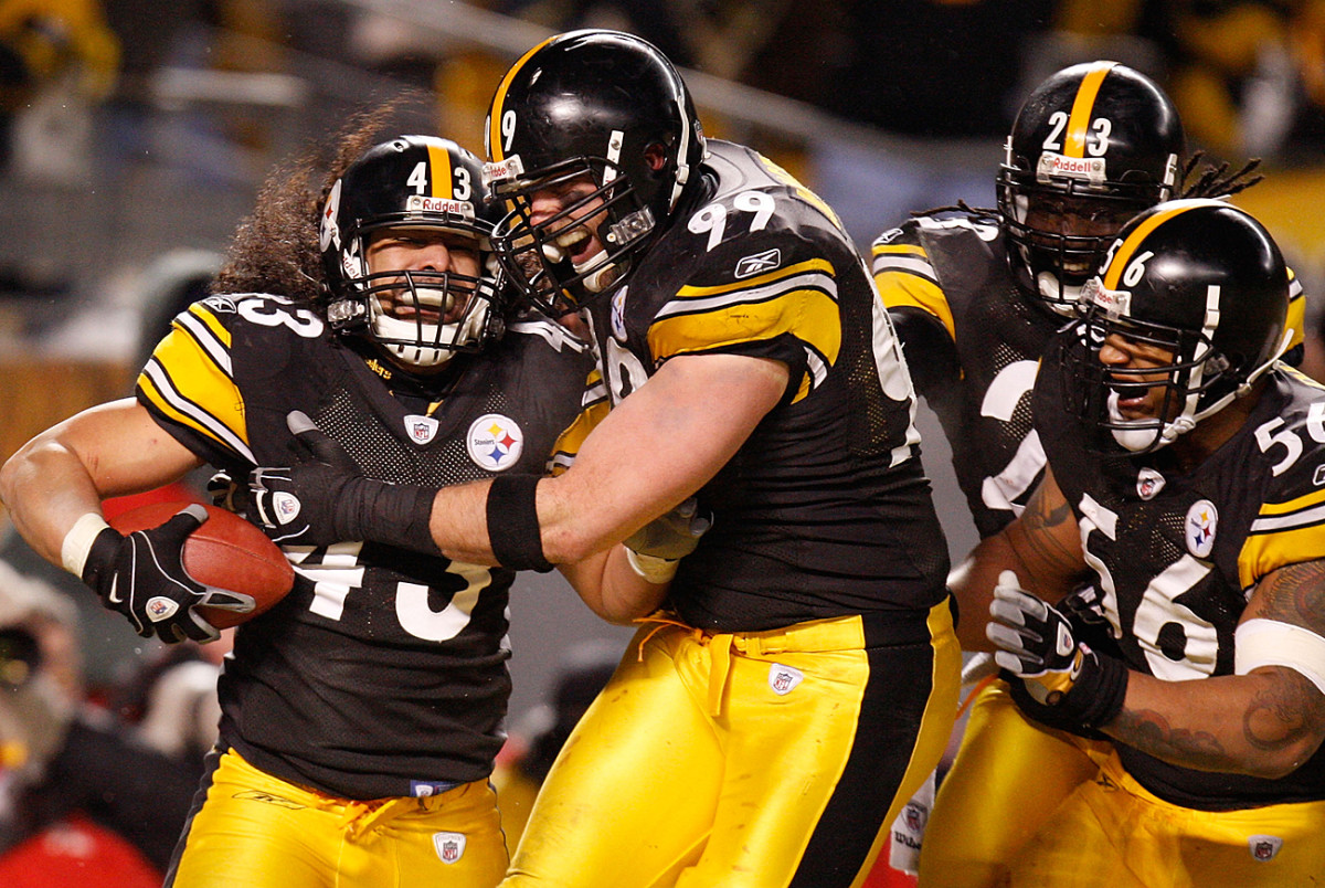 Troy Polamalu celebrates his game-clinching pick-six with Brett Keisel in the January 2009 AFC Championship Game.