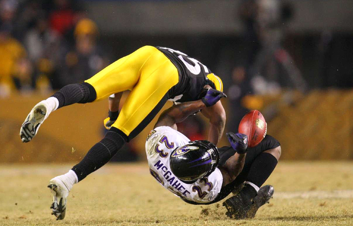 Ryan Clark lays out Willis McGahee, AFC Championship Game, January 2009.