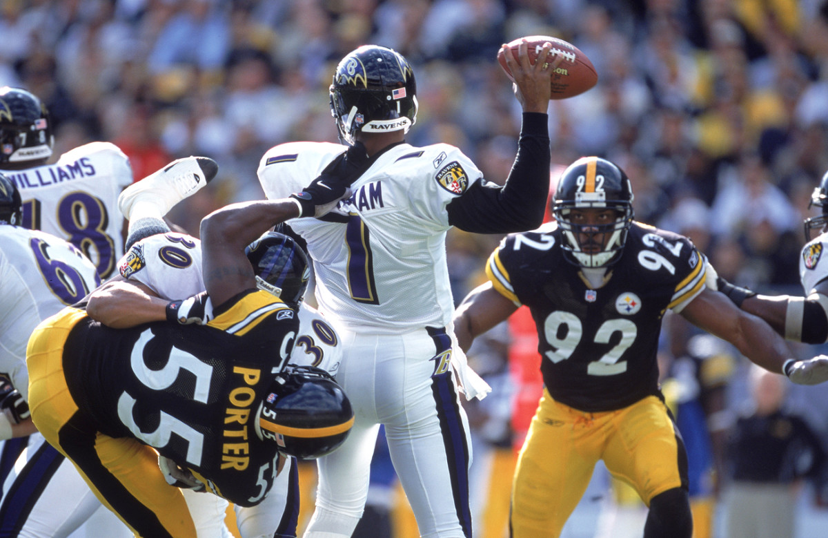 Joey Porter has a hold of Ravens QB (!?) Randall Cunningham in a 2001 game.