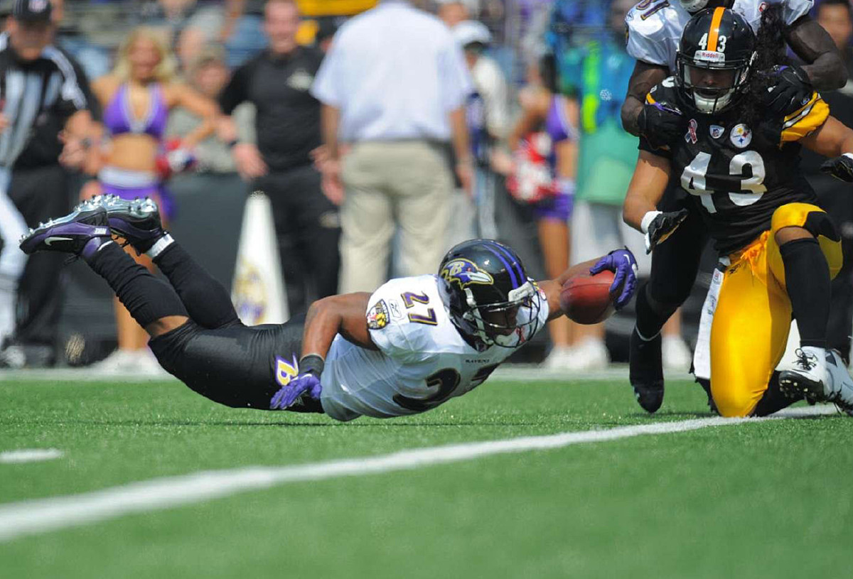Ray Rice extends the play, September 2011.