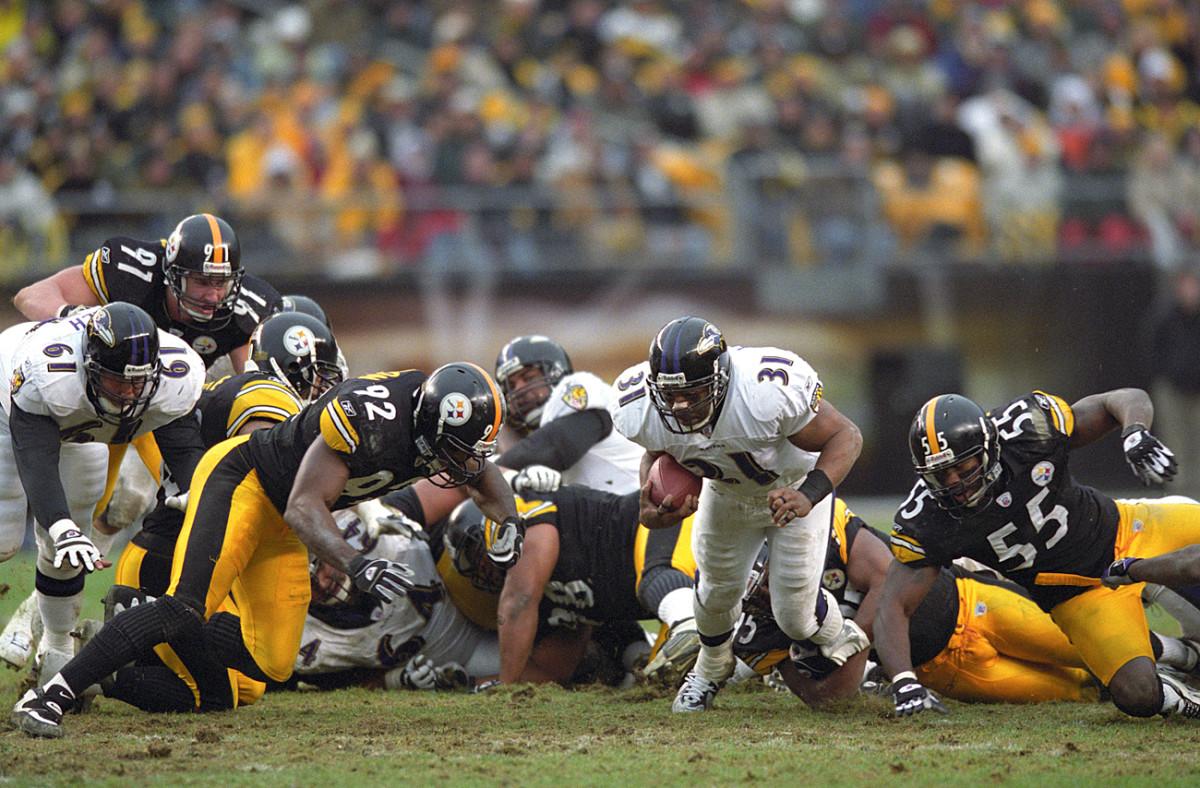 Jamal Lewis carries against the Steelers, December 2002.