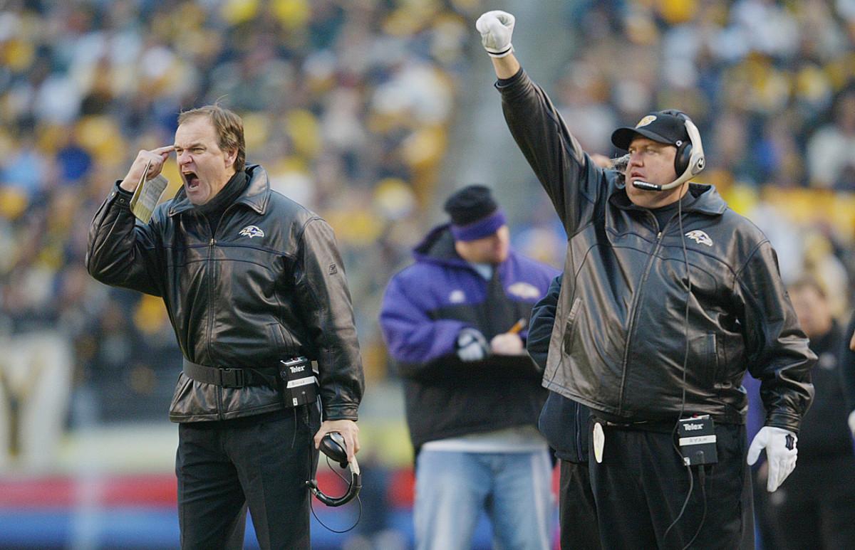 Billick and defensive coordinator Rex Ryan, December 2002.