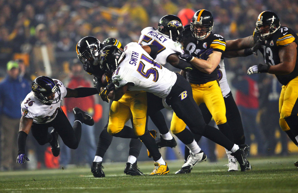 The Ravens D clamps down on Ben Tate and the Steelers in Baltimore's January 2015 playoff win.