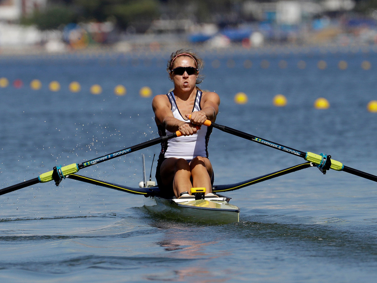 U.S.'s Gevvie Stone wins silver in the single sculls.