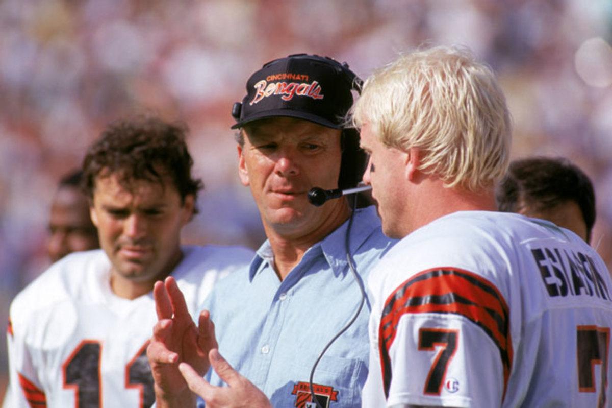 Sam Wyche and Boomer Esiason in 1990.
