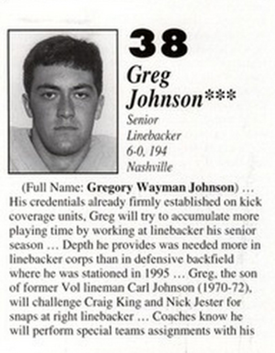 Greg Johnson, from the Tennessee media guide.