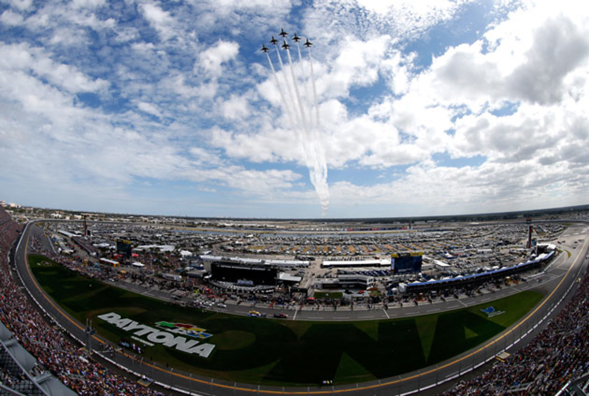 The pre-race flyover on a beautiful day.