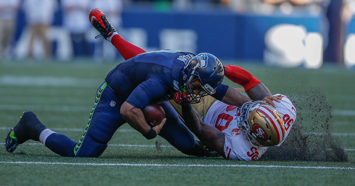Russell Wilson was able to avoid major injury despite having his leg bent unnaturally.