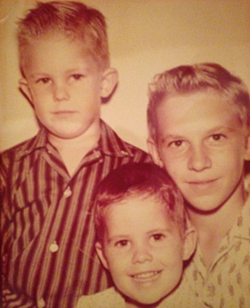 The Gamble boys—Greg (left), Harry (right) and Danny (bottom)—around the time their childhood love of baseball reached its peak.