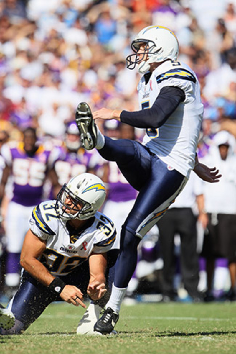 Punter Scifres and safety Weddle made a strange kicker/holder pair after Kaeding's torn ACL.