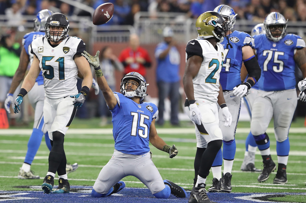 Golden Tate leads the Lions in receptions with 52, and four others have at least 35 catches.