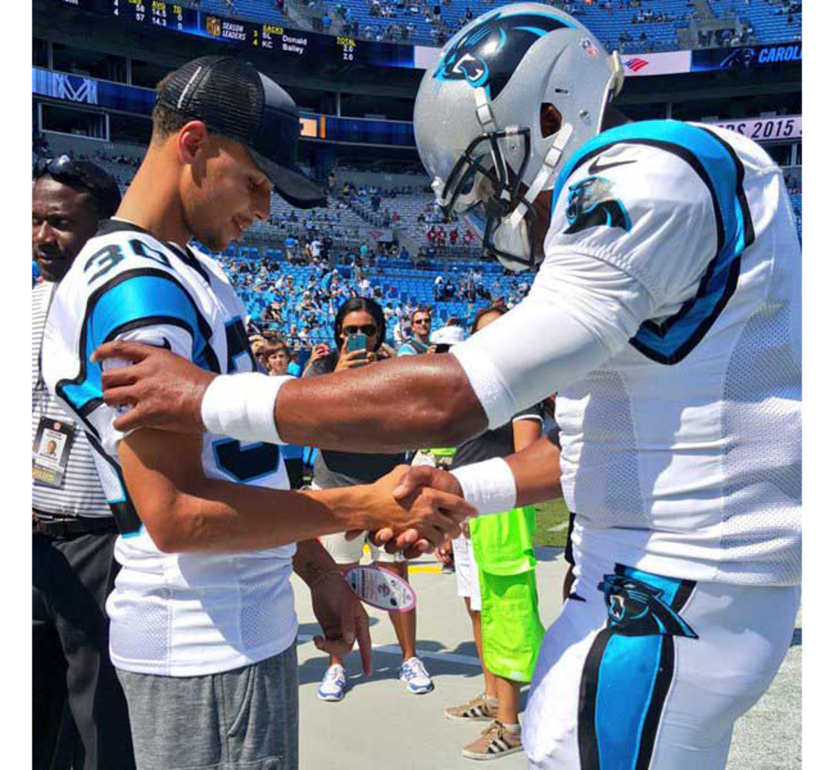 Stephen Curry and Cam Newton before the Panthers' home-opener on Sept. 20.