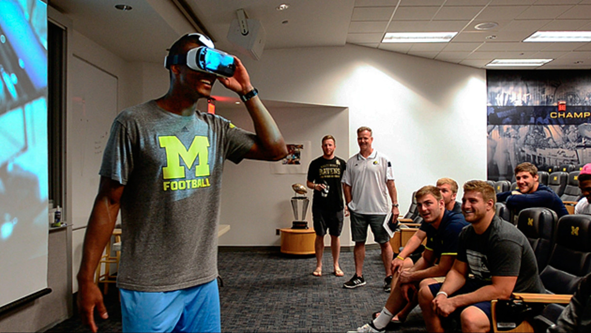 """The Real Feel: Kavanaugh created VR content that wowed the Michigan players (pictured). """"It's like you're right there,"""" said one."""
