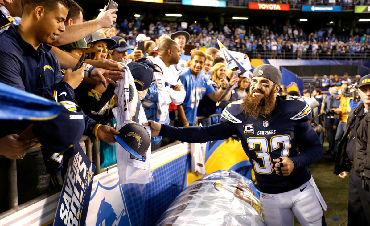 Weddle meets the faithful after the win over Miami.