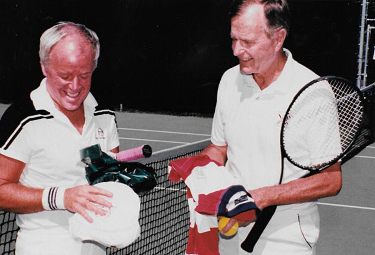 Curry Kirkpatrick and President George H.W. Bush talk tennis