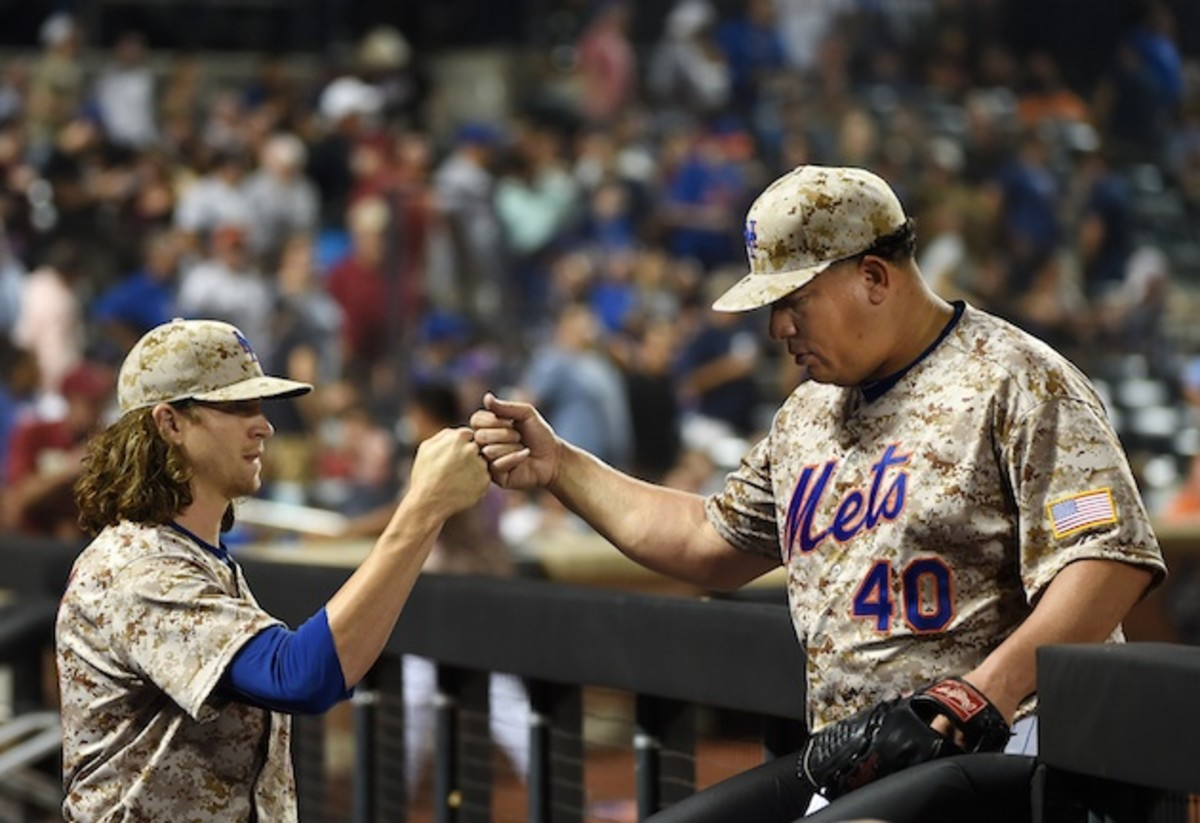 With Jacob deGrom (l) and Bartolo Colon (r), the Mets boast a healthy mix of vets and upstarts.