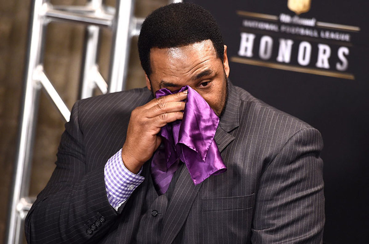 Jerome Bettis was emotional Saturday after learning of his election into the hall of fame on his fifth year of eligibility. (Jordan Strauss/AP)