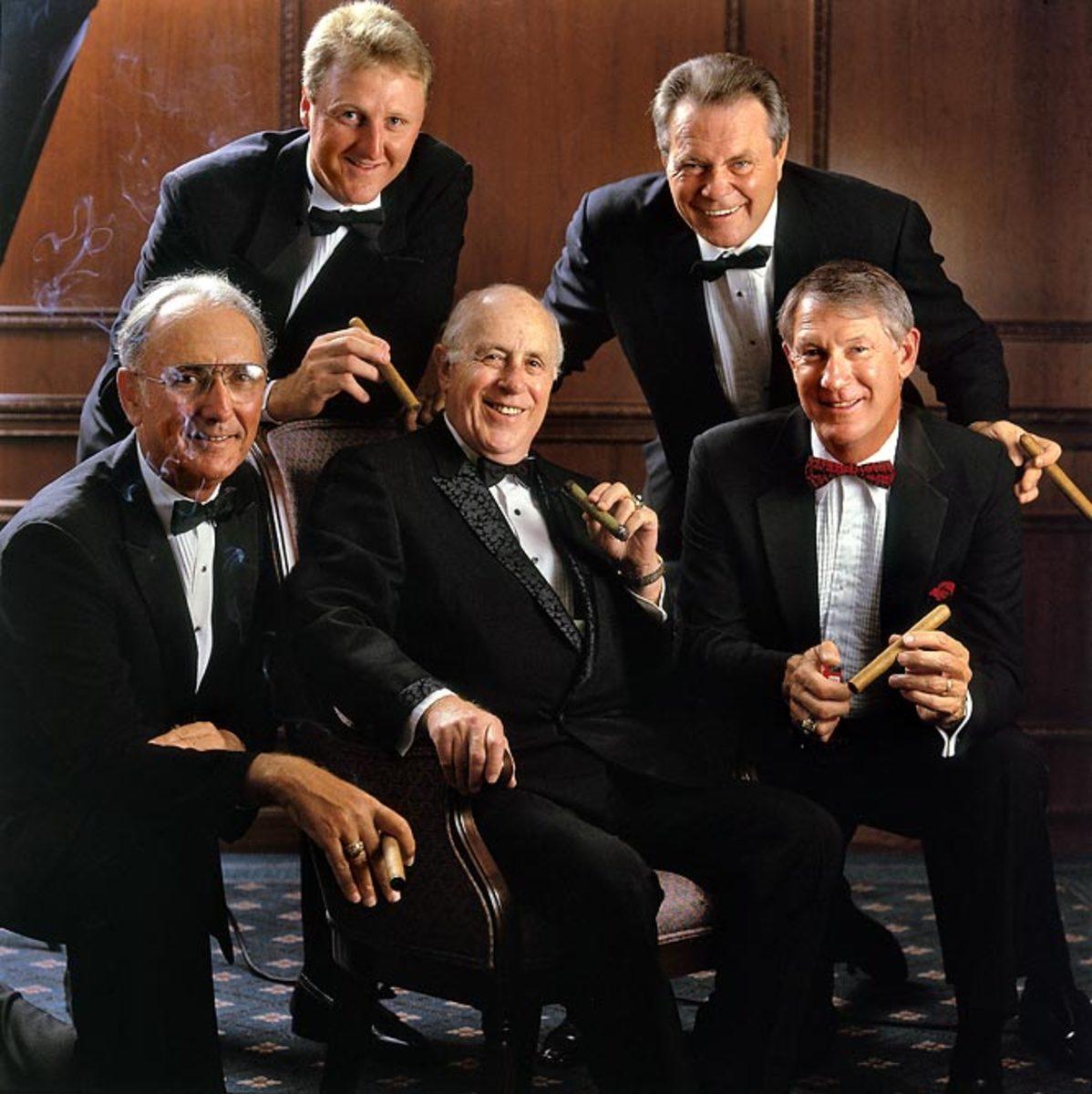 Red Auerbach, Bob Cousy, Larry Bird, Tom Heinsohn, John Havlicek