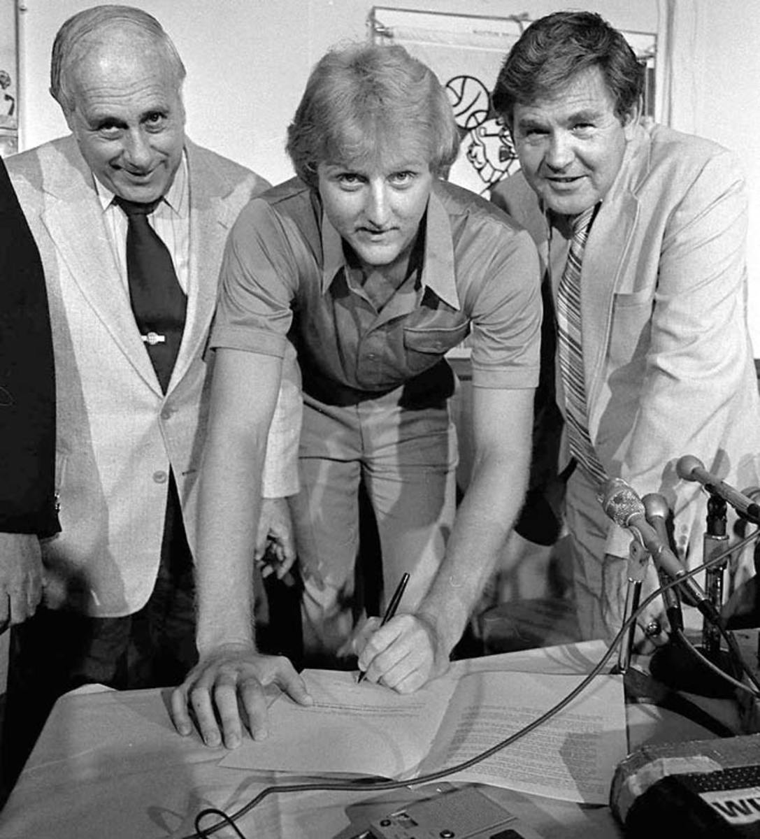 Red Auerbach, Larry Bird and Bill Fitch