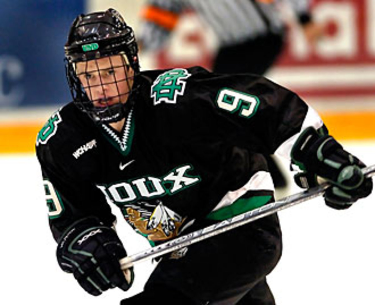 Toews spent two seasons with North Dakota, scoring 40 goals and 85 points in 76 games.