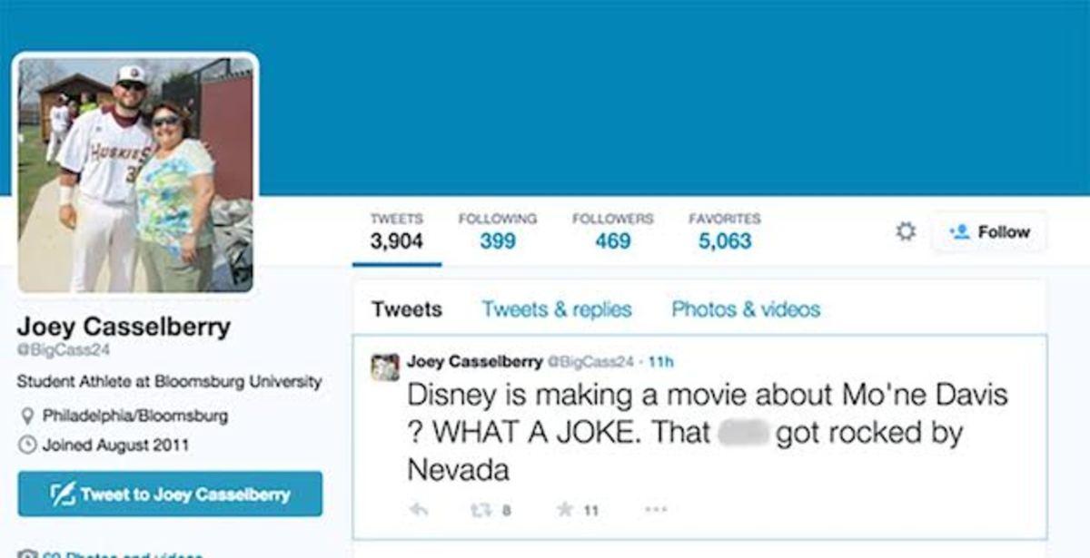 Mo'ne Davis offensive vulgar tweet joey casselberry slut