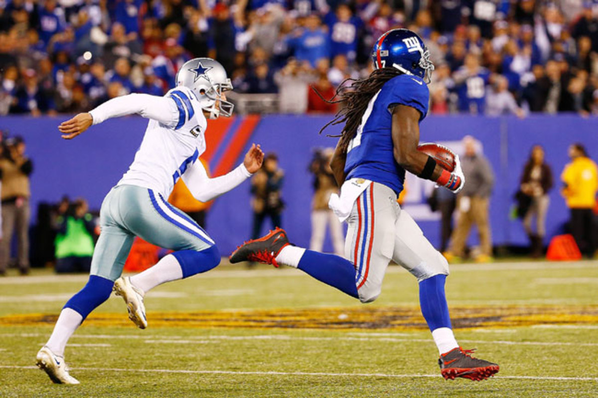 Dwayne Harris blows past Dan Bailey and takes a kickoff back 100 yards for the game-winning touchdown.