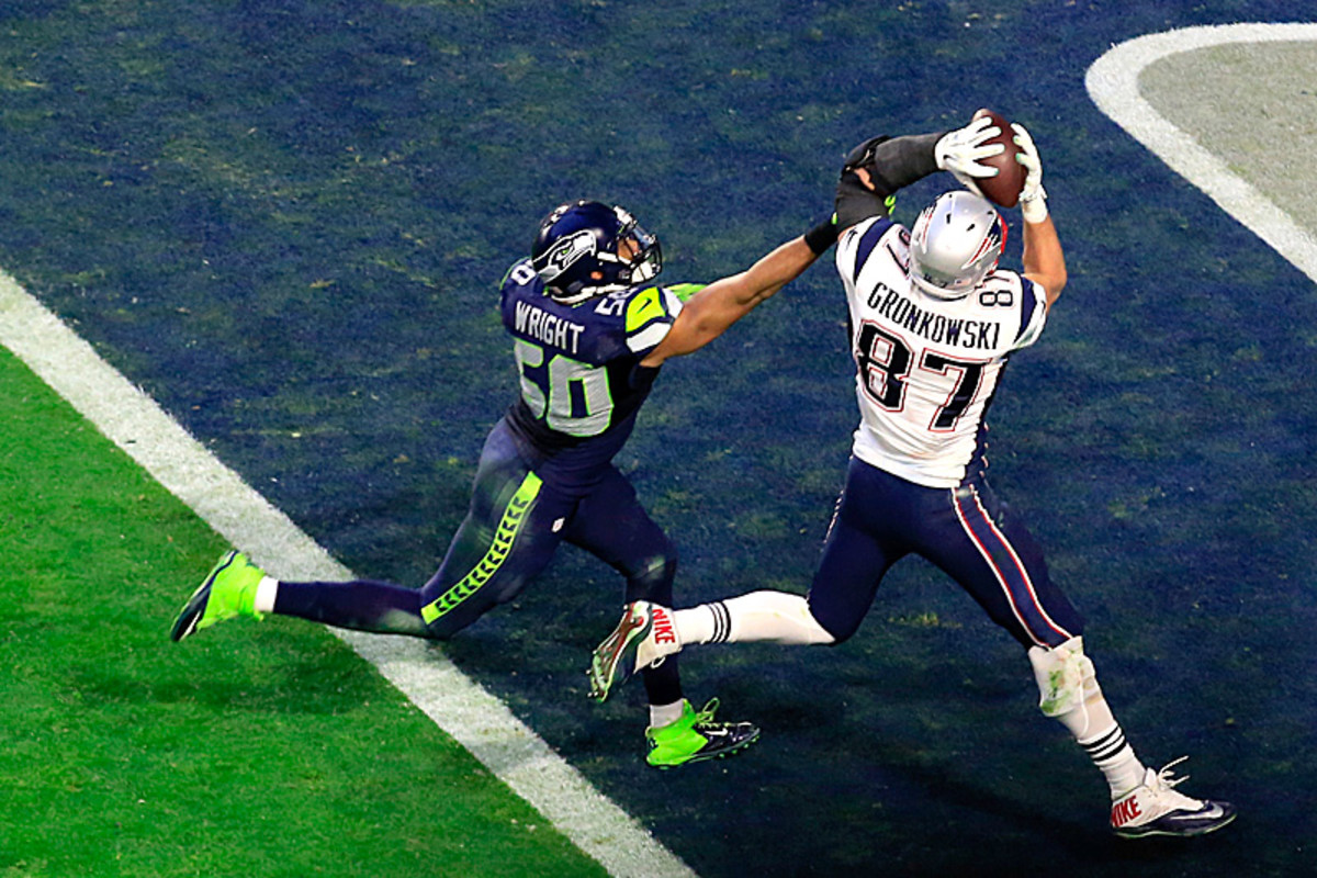 Whether it was K.J. Wright (on this touchdown) or Kam Chancellor, the Seahawks couldn't match up with Rob Gronkowski. (Jamie Squire/Getty Images)