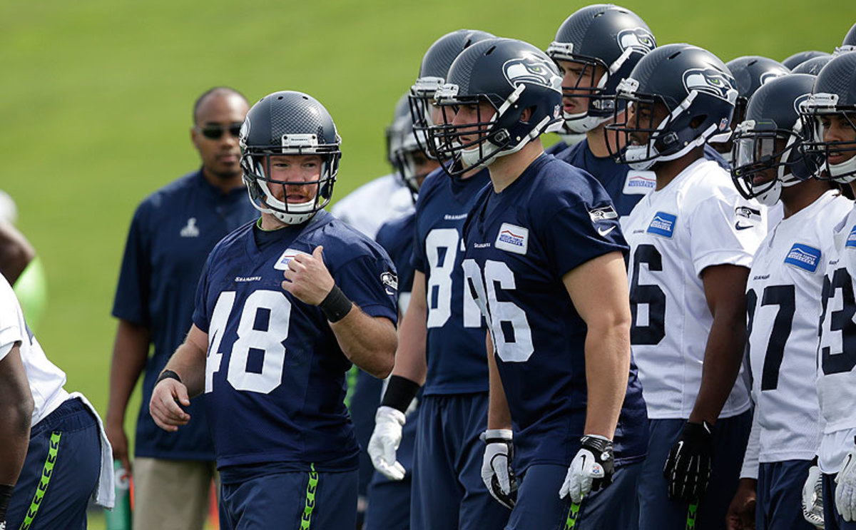 At 5-10 and 216 pounds, Boyer is consider to be a long shot to make the Seahawks roster. (Elaine Thompson/AP)