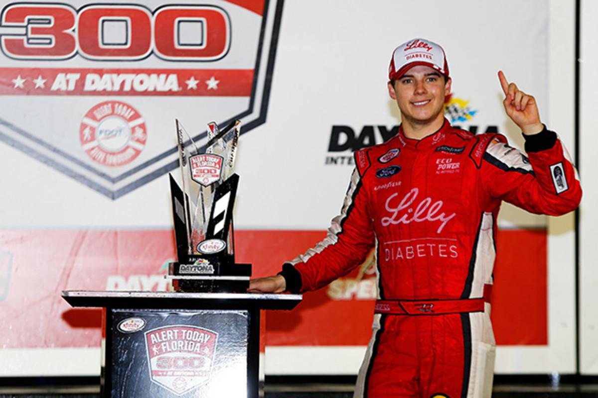 NASCAR driver Ryan Reed after winning the NASCAR XFINITY Series Alert Today Florida 300 at Daytona International Speedway.