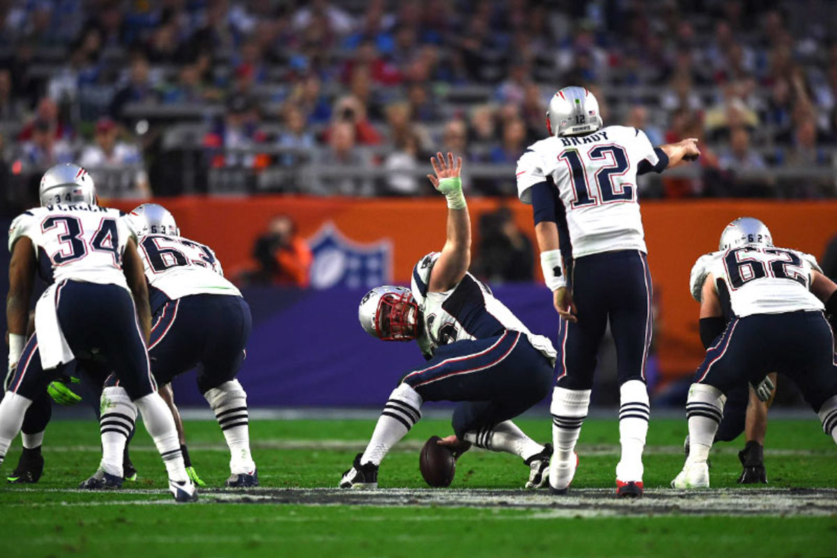 Rookie center Stork started the season injured, but by XLIX he and Brady were in sync. (John W. McDonough/Sports Illustrated/The MMQB)