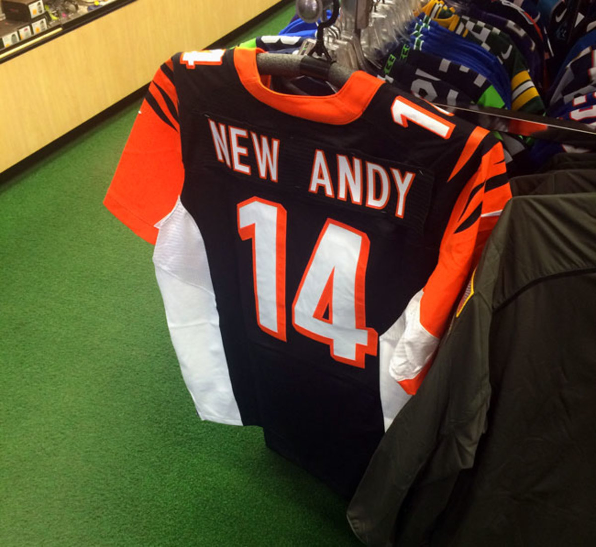 The New Andy jersey inside Koch Sporting Goods.