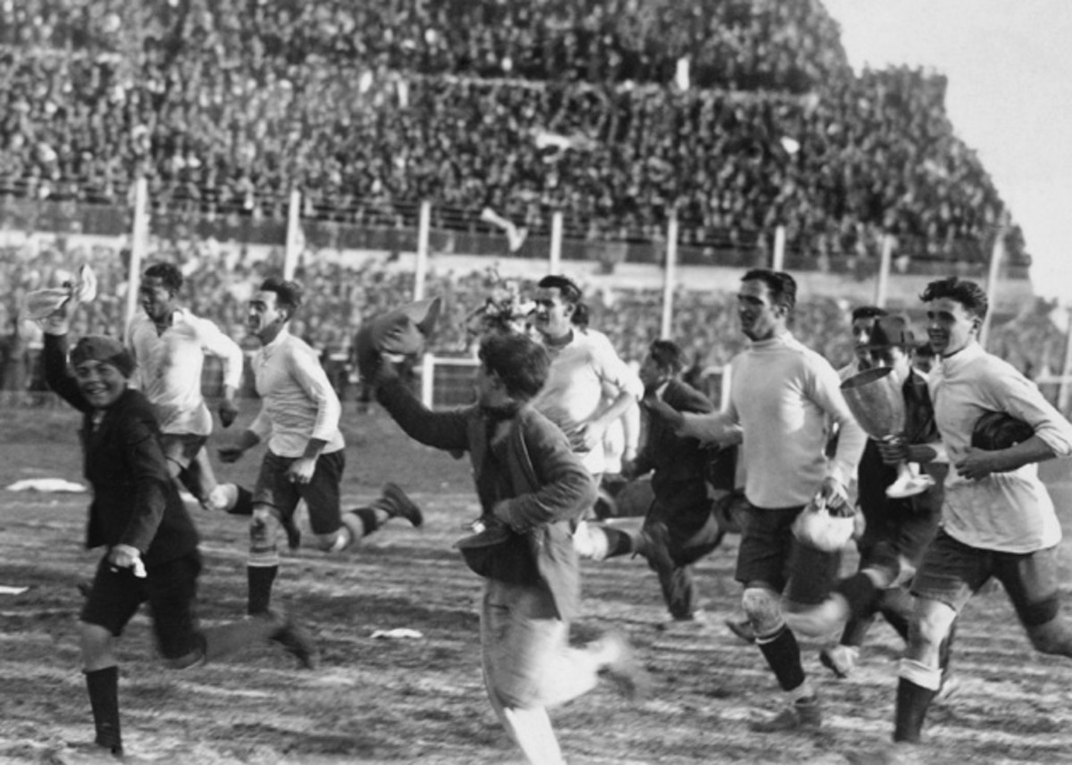 Uruguay players take a victory lap after beating Argentina to capture the 1930 World Cup.