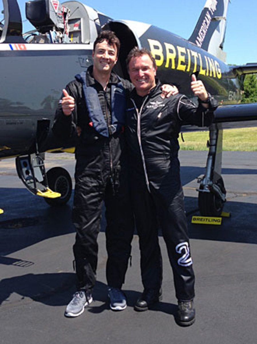 Stephen Cannella (left) and Bernard Charbonnel after soaring across the wild blue yonder.