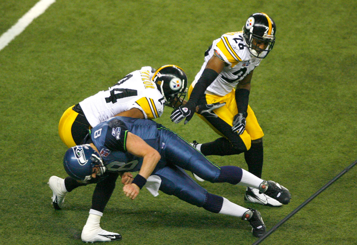 Hasselbeck was flagged for a low block on Ike Taylor, who'd just picked him off.