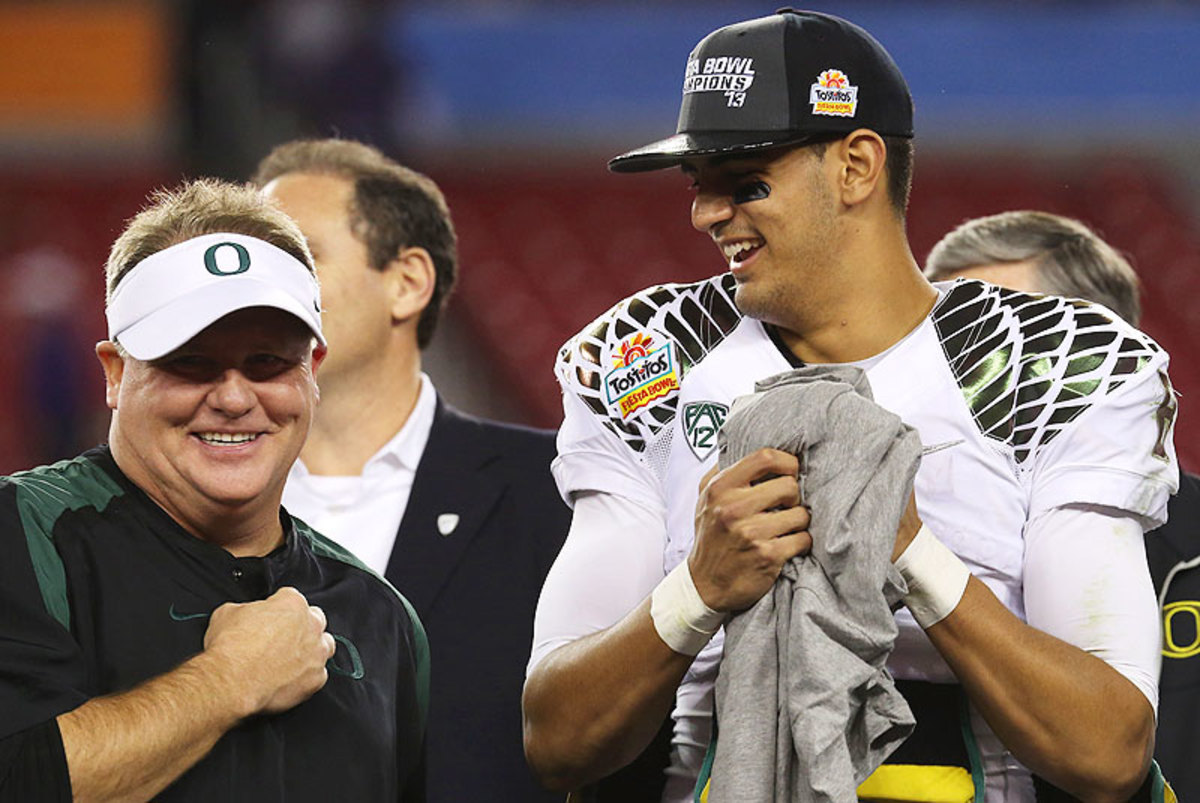 "Former Oregon coach Chip Kelly, now with the Eagles, once said Marcus Mariota is ""the most talented kid I coached in college."" (Stephen Dunn/Getty Images)"
