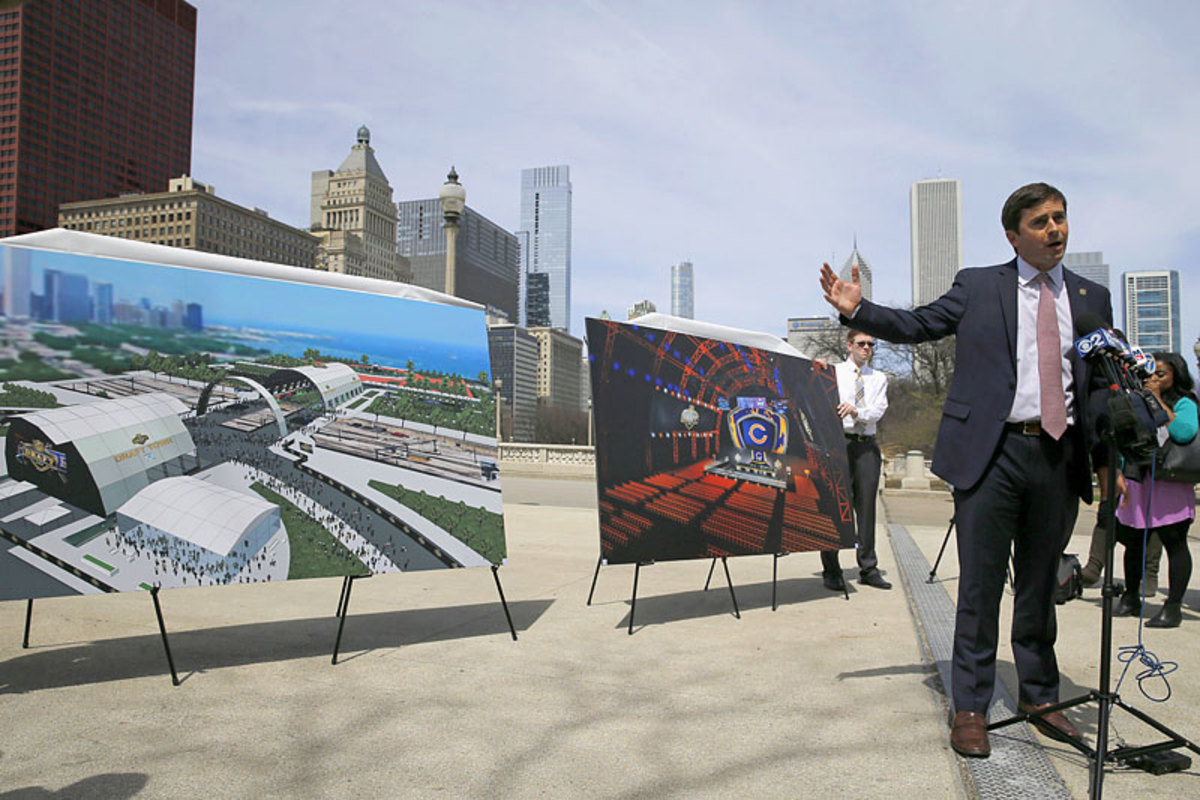 Peter O'Reilly, the NFL' senior vice president of events showed renderings of the 2015 draft earlier this month in Chicago. (Kiichiro Sato/AP)
