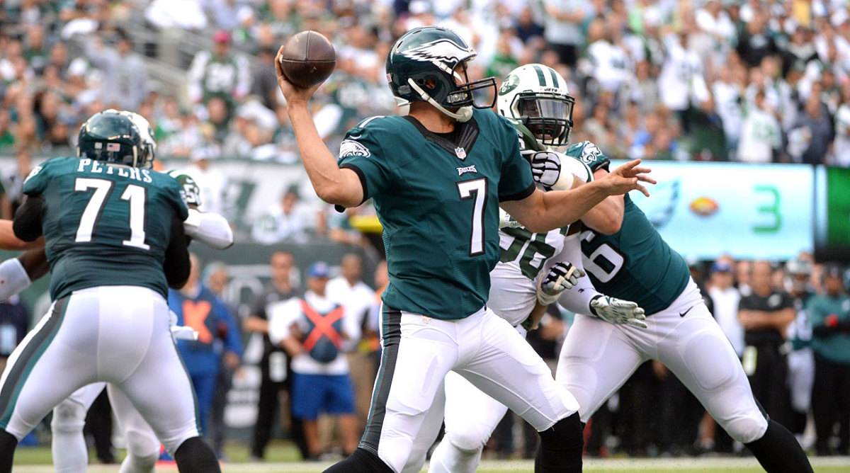 The Eagles kept it simple for Bradford against New York, with wheel routes predominating. (Photo: Carlos M. Saavedra for Sports Illustrated)