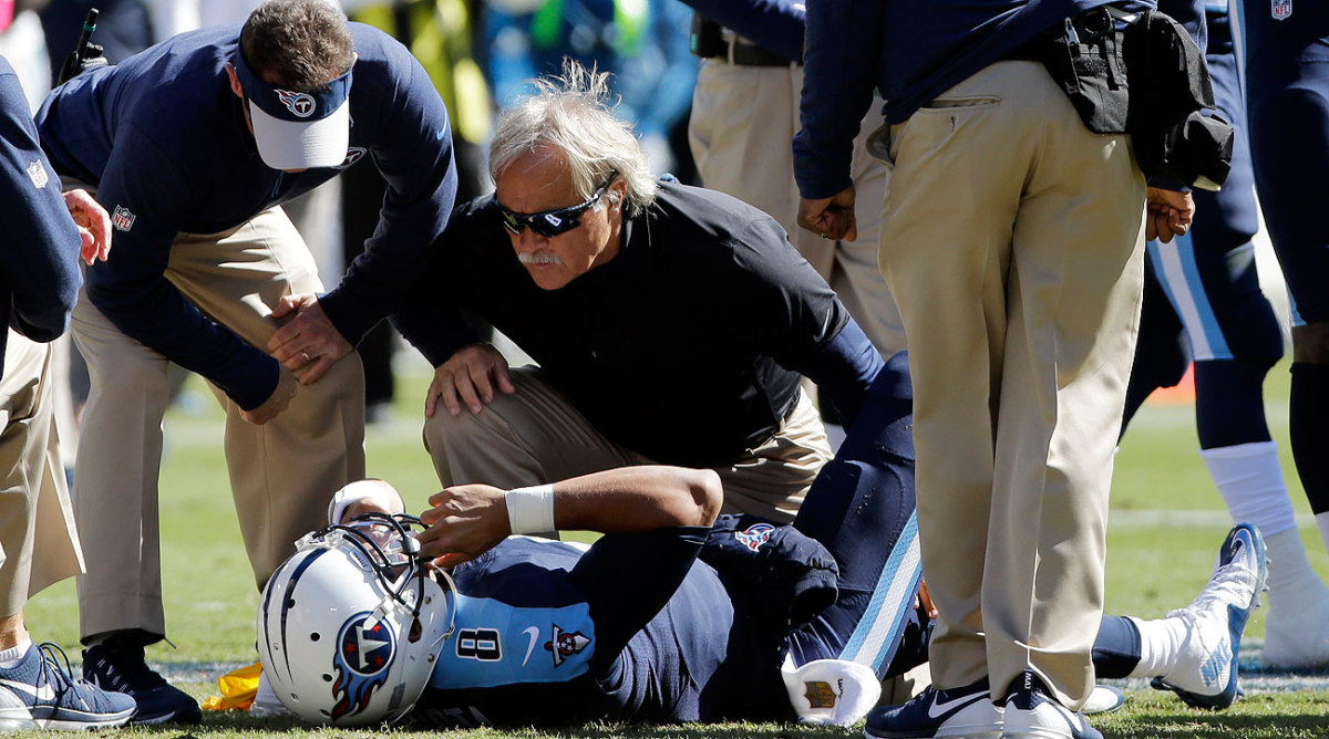 The Titans medical staff attended to Marcus Mariota during Sunday's game.