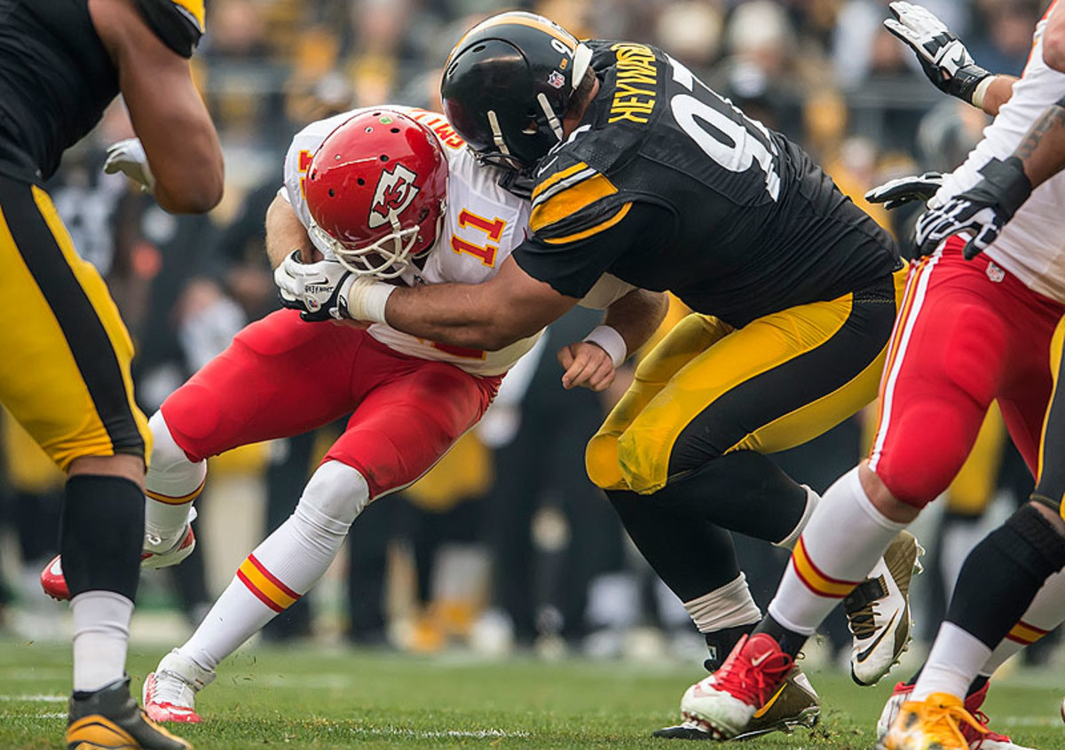 Cameron Heyward's 7.5 sacks in 2014 equaled the total number he had from 2011-13, his first three years in the league. (Gregory Shamus/Getty Images)