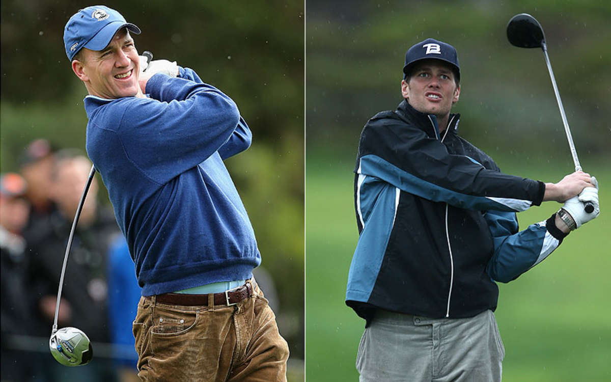 NFL quarterbacks Peyton Manning and Tom Brady are no stranger to the golf course during the offseason. (Getty Images/2)