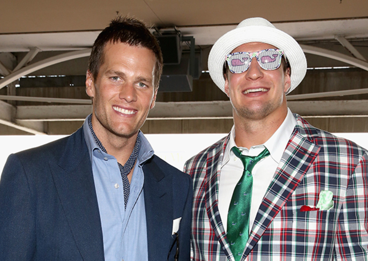 Tom Brady and Rob Gronkowski attend the 141st Kentucky Derby at Churchill Downs.