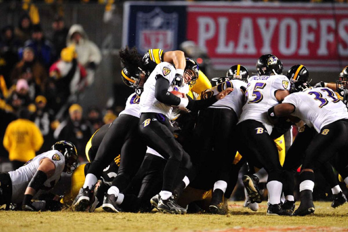 Polamalu was a torment for quarterbacks whether dropping into coverage or vaulting over the line, as Flacco discovered in the AFC title game in January 2009. (John Biever/Sports Illustrated)