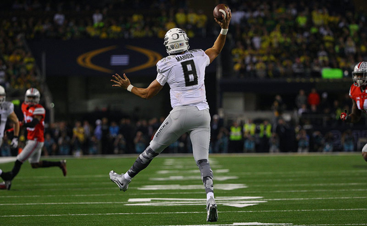 Marcus Mariota's destination, and where in the first round he'll be selected, is an unknown with a little more than two weeks until the draft. (Al Tielemans/Sports Illustrated/The MMQB)