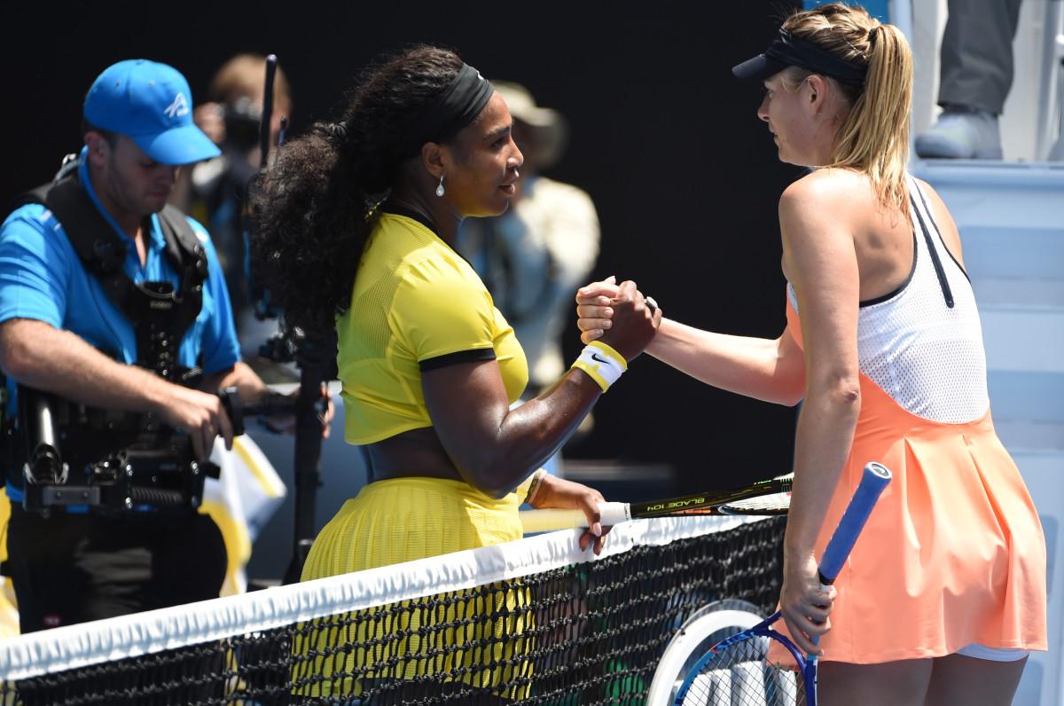 Serena Williams Maria Sharapova 2016 Aussie open.jpg