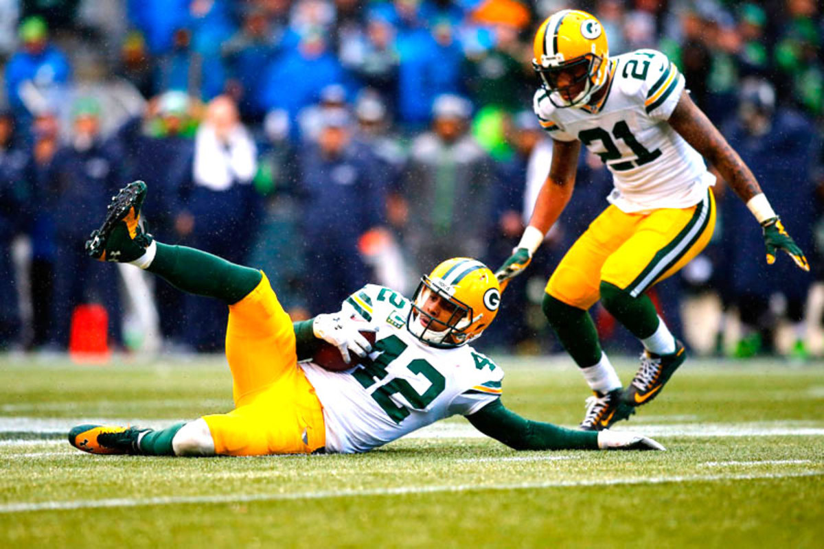 Morgan Burnett's pick seemed to seal the deal for the Packers. But then . . . (Jonathan Ferrey/SI/The MMQB)