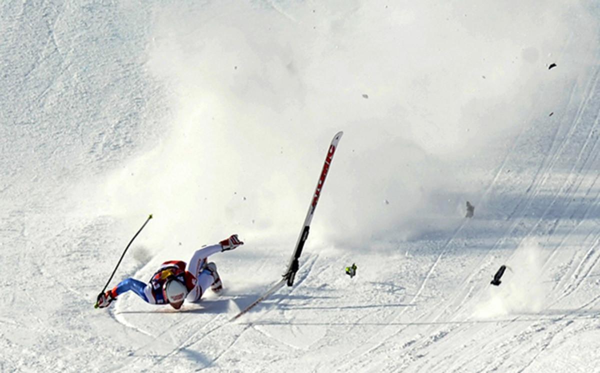 Switzerland's Daniel Albrecht crashes in front a finish area in Kitzbuhel in 2009.