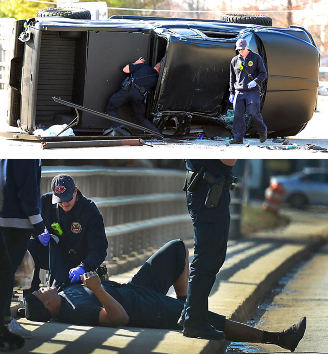 Newton's car accident in December 2014.